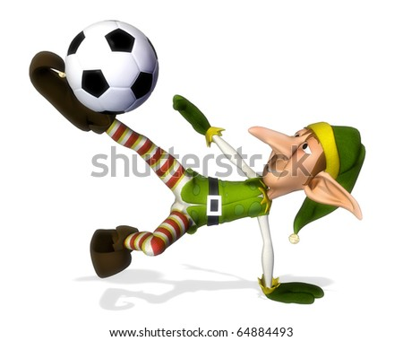 santa helper cartoon footballer volley - stock photo