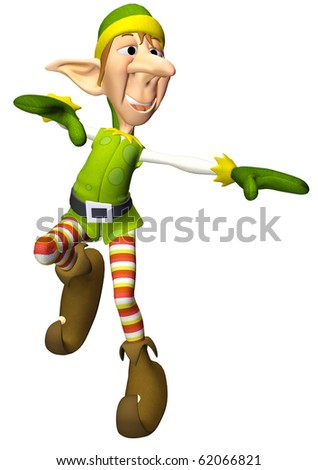 santa helper cartoon freak dance - stock photo