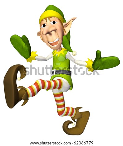 santa helper cartoon funk walk - stock photo