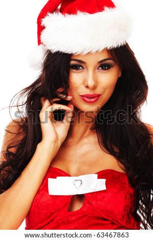 santa helper girl on white background with long hair and red gift box - stock photo