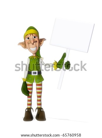 santa helper hold a sign 2 - stock photo