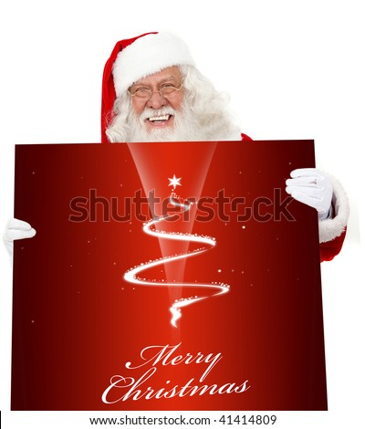 Santa holding a Christmas poster isolated over a white background - stock photo