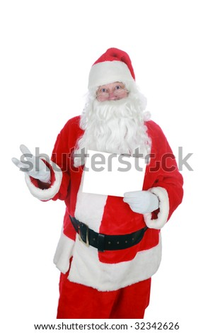santa holds a blank sign isolated on white  with room for your text