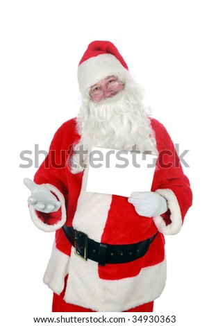 Santa holds a blank white sign  isolated on white room for text - stock photo