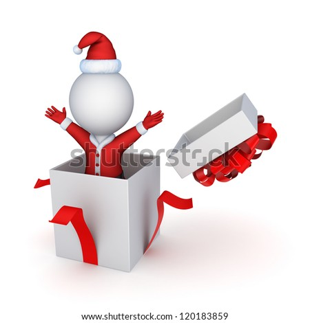 Santa in a giftbox.Isolated on white.3d rendered. - stock photo