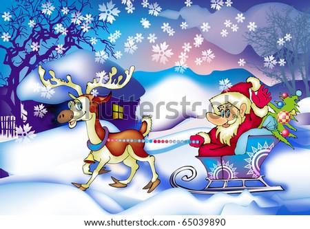Santa in country - stock photo