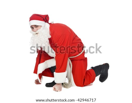 Santa in running position isolated on a white background - stock photo