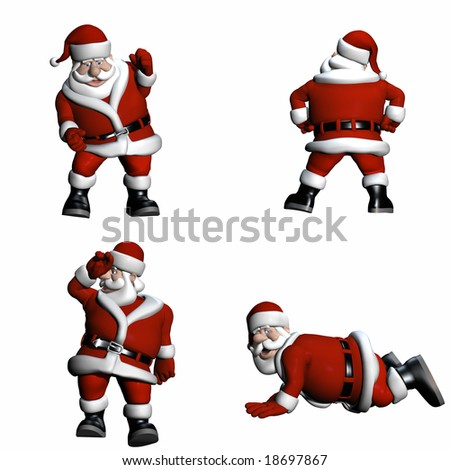 Santa in various poses. Isolated on a white background.