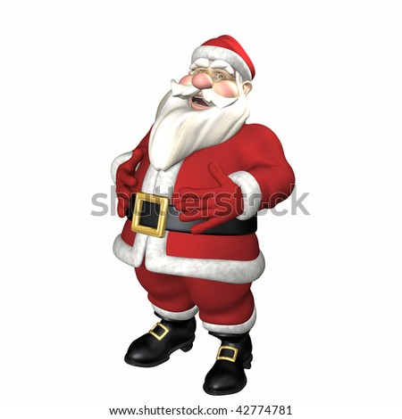 Santa - Jolly Ole Elf 2.  Santa holding his belly while he laughs.  Isolated. - stock photo