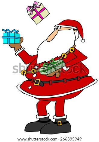Santa juggling packages - stock photo
