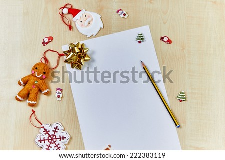 Santa list on wooden table, top view  template - stock photo