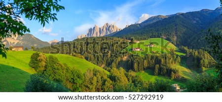 Santa Maddalena at sunset, Dolomites, Italy