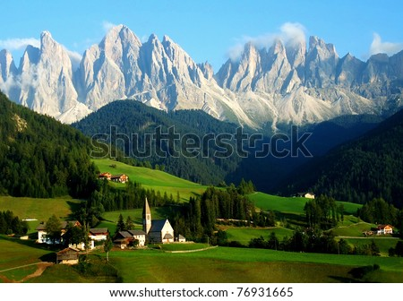 Santa Maddalena/Sankta Magdalena and Dolomites range, Funes, South Tyrol, Italy - stock photo