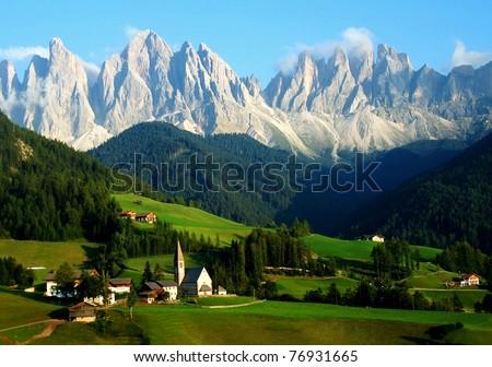 Santa Maddalena/Sankta Magdalena and Dolomites range, Funes, South Tyrol, Italy - stock photo