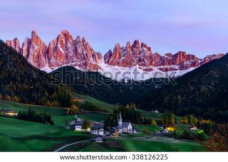 Santa Maddalena village in front of the Geisler or Odle Dolomites Group, Val di Funes, Italy, Europe. - stock photo