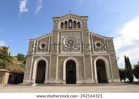 Santa Margherita facade in Cortona, Tuscany, Italy - stock photo