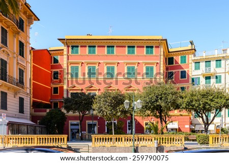 SANTA MARGHERITA LIGURE, ITALY - MAR 8, 2015: Architecture of Santa Margherita Ligure, which is popular touristic destination in summer