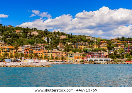 SANTA MARGHERITA LIGURE, ITALY - MAY 4, 2015: Panoramic view of  Santa Margherita Ligure, which is popular touristic destination in summer