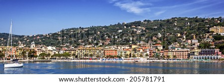 Santa Margherita on the Italian Riviera near Genoa.  Panorama.