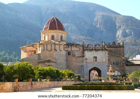 Santa Maria de la Valldigna Simat Monastery Valencia Spain monuments - stock photo