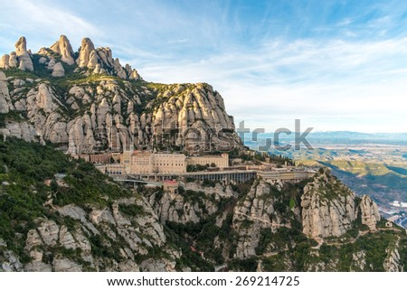 Santa Maria de Montserrat monastery. Monastery on mountain near Barcelona, in Catalonia - stock photo