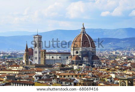Santa Maria del Fiore ( also called il Duomo ) in Florence, Italy - stock photo