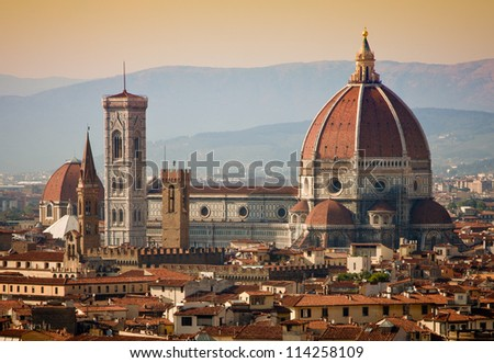 Santa Maria del Fiore cathedral in Florence, Italy - stock photo