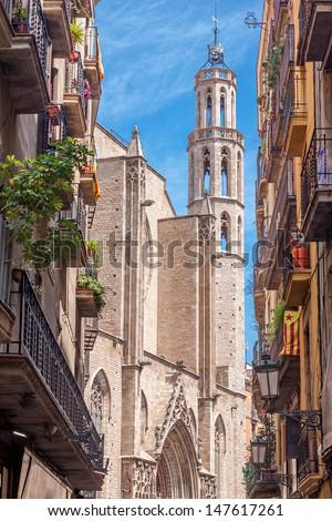 Santa Maria del Mar church in Barcelona - stock photo
