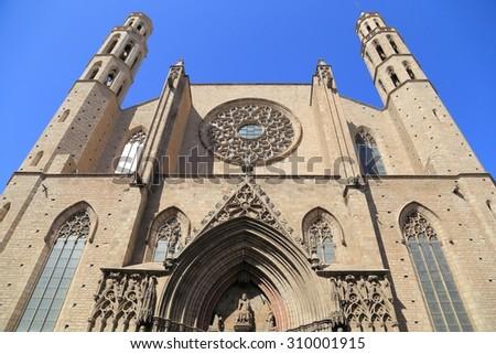 Santa Maria del Mar church in Barcelona, Spain. - stock photo