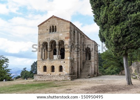 Santa Maria del Naranco. King Ramiro I ordered its construction in 848 and used it as a royal palace - stock photo