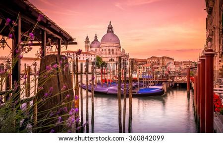 Santa Maria della Salute cathedral at sunrise, Venice - stock photo