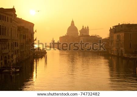Santa Maria Della Salute Church at Grand canal Venice - sunrise - stock photo