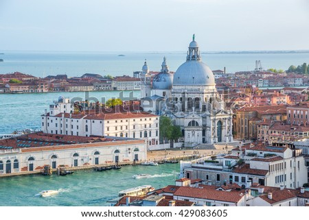 Santa Maria della Salute overview, on the Grand Canal, Venice, Italy
