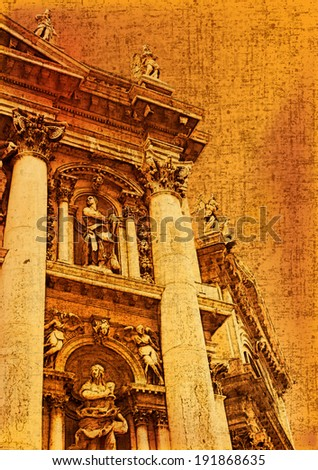Santa Maria della Salute, Venice Italy in a vintage style over a grunged and faded paper texture - stock photo