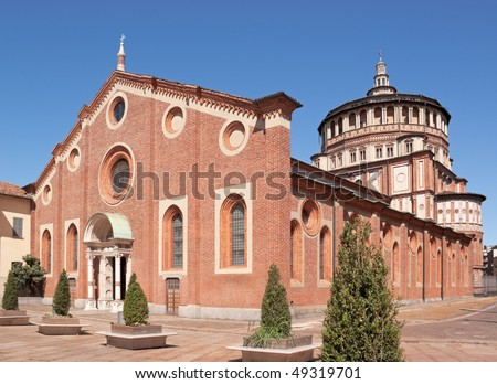 "Santa Maria delle Grazie (Milan, Italy). This church and the adjacent Dominican convent were built during the 15th century. The back wall of the convent dining hall is covered by ""The Last Supper""."