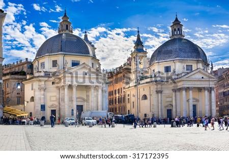 Santa Maria in Montesanto and Santa Maria dei Miracoli on piazza del Popolo in Rome, Italy - stock photo