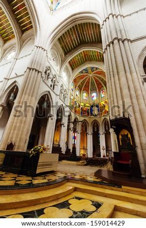Santa Maria la Real de La Almudena is Catholic cathedral - main church of Spain - stock photo