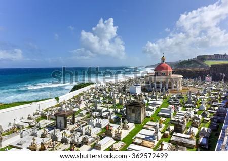 Santa Maria Magdalena de Pazzis colonial era cemetery located in Old San Juan, Puerto Rico. - stock photo