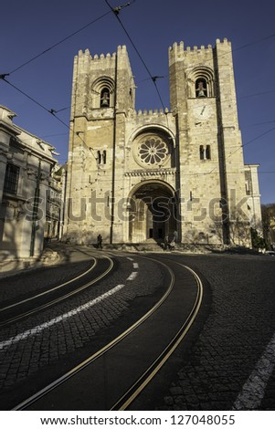 Santa Maria Maior de Lisboa or Se de Lisboa is the cathedral of Lisbon and the oldest church in the city, Lisbon, Portugal - stock photo