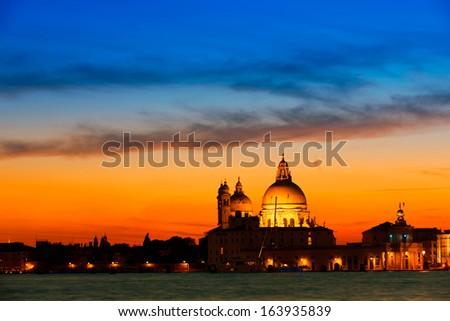 Santa Maria Salute at sunset, Venice, Italy - stock photo