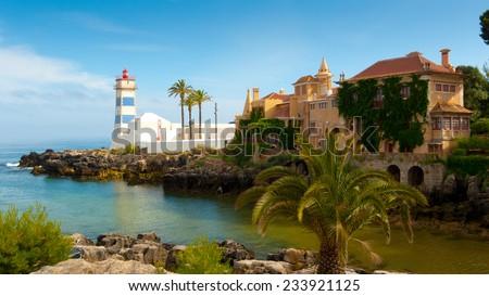Santa Marta lighthouse and Municipal museum, Cascais, Lisbon, Portugal - stock photo