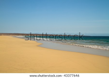 Santa Monica Beach at boa vista cape verde - stock photo