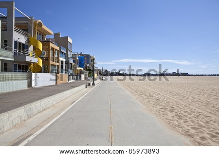 Santa Monica beach, bike path and pier. - stock photo