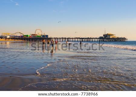 Santa Monica Beach in California - stock photo