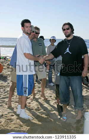 SANTA MONICA, CA - DECEMBER 02: Jordan Farmar and Eric Gagne at Kohl's Holiday Sandman Building Competition on December 02, 2006 at Santa Monica Beach, Santa Monica, CA. - stock photo