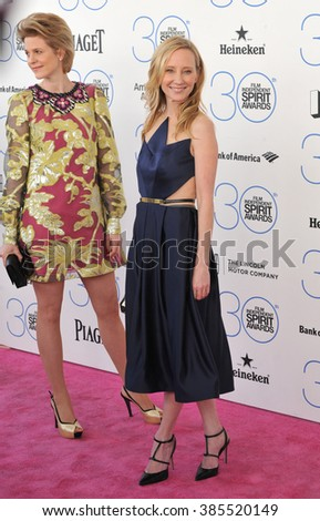 SANTA MONICA, CA - FEBRUARY 21, 2015: Anne Heche & Princess Isabelle zu Hohenlohe-Jagstberg at the 30th Annual Film Independent Spirit Awards on the beach in Santa Monica.