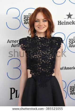 SANTA MONICA, CA - FEBRUARY 21, 2015: Emma Stone at the 30th Annual Film Independent Spirit Awards on the beach in Santa Monica. - stock photo