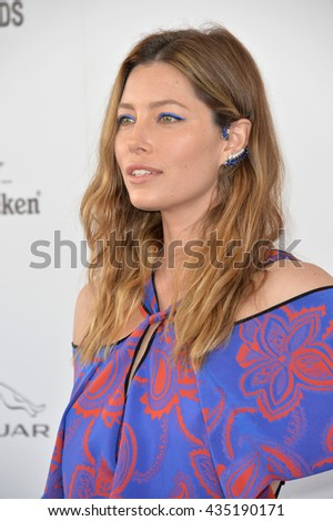 SANTA MONICA, CA - FEBRUARY 27, 2016: Jessica Biel at the 2016 Film Independent Spirit Awards on the beach in Santa Monica, CA.