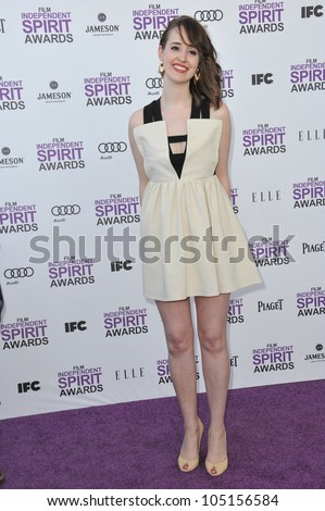 SANTA MONICA, CA - FEBRUARY 25, 2012: Joslyn Jensen at the 2012 Film Independent Spirit Awards on the beach in Santa Monica, CA. February 25, 2012  Santa Monica, CA