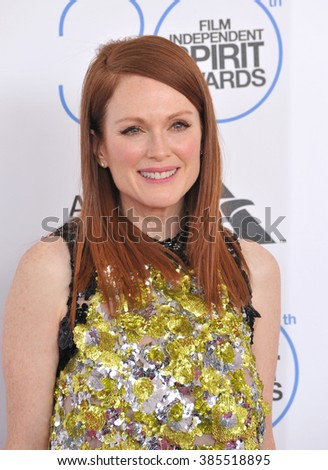 SANTA MONICA, CA - FEBRUARY 21, 2015: Julianne Moore at the 30th Annual Film Independent Spirit Awards on the beach in Santa Monica.